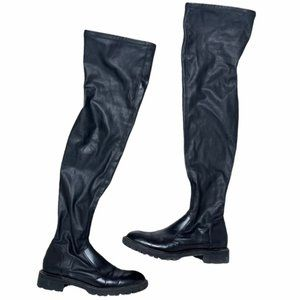 ZARA Black Faux Leather Over The Knee Boots 38